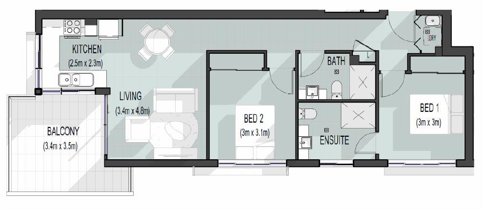 56 Hood St | Units 4 and 8 Floor Plan | 2 bed, 2 bath, 1 car