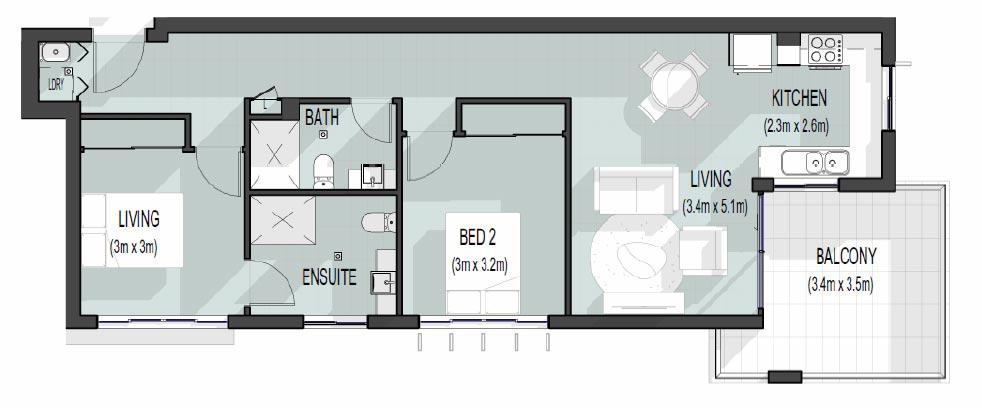 56 Hood St | Unit 7 Floor Plan | 2 bed, 2 bath, 2 car